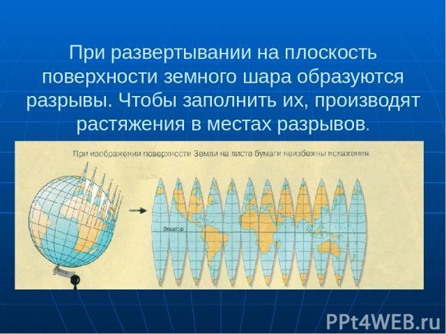 При развертывании на плоскость поверхности земного шара образуются разрывы. Чтобы заполнить их, производят растяжения в местах разрывов.