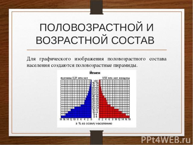 ПОЛОВОЗРАСТНОЙ И ВОЗРАСТНОЙ СОСТАВ Для графического изображения половозрастного состава населения создаются половозрастные пирамиды.