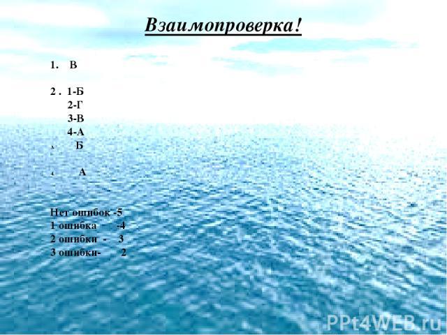 Взаимопроверка! 1. В 2 . 1-Б 2-Г 3-В 4-А Б А Нет ошибок -5 1 ошибка -4 2 ошибки - 3 3 ошибки- 2