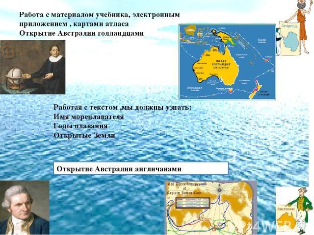 Работая с текстом ,мы должны узнать: Имя мореплавателя Годы плавания Открытые Земли Работа с материалом учебника, электронным приложением , картами атласа Открытие Австралии голландцами Открытие Австралии англичанами