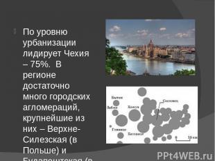 По уровню урбанизации лидирует Чехия – 75%. В регионе достаточно много городски