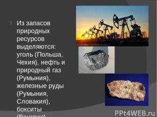 Из запасов природных ресурсов выделяются: уголь (Польша, Чехия), нефть и природн