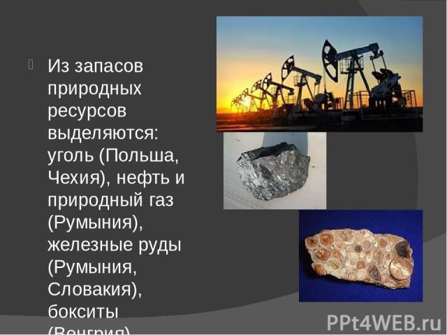 Из запасов природных ресурсов выделяются: уголь (Польша, Чехия), нефть и природный газ (Румыния), железные руды (Румыния, Словакия), бокситы (Венгрия).