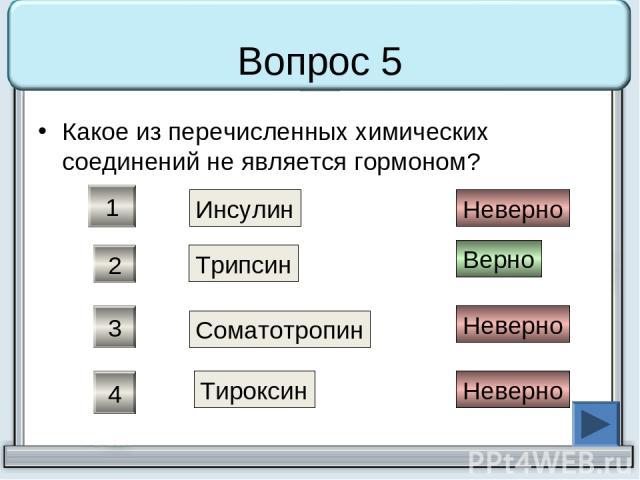 Вопрос 5 Какое из перечисленных химических соединений не является гормоном? Инсулин Трипсин Соматотропин Тироксин Неверно Неверно Неверно Верно 1 2 3 4