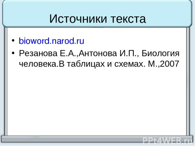 Источники текста bioword.narod.ru Резанова Е.А.,Антонова И.П., Биология человека.В таблицах и схемах. М.,2007