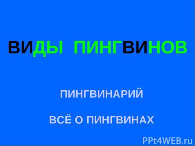 ВИДЫ ПИНГВИНОВ ПИНГВИНАРИЙ ВСЁ О ПИНГВИНАХ