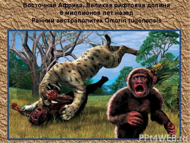 Восточная Африка, Великая рифтовая долина 6 миллионов лет назад Ранний австралопитек Orrorin tugenensis