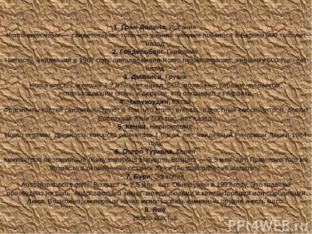 1. Гран-Долина, Испания Homo antecessor — свидетельство того, что ранний человек появился в Европе 800 тыс. лет назад. 2. Гейдельберг, Германия Челюсть, найденная в 1907 году, принадлежала Homo heidelbergensis, жившему 500 тыс. лет назад. 3. Дманиси…