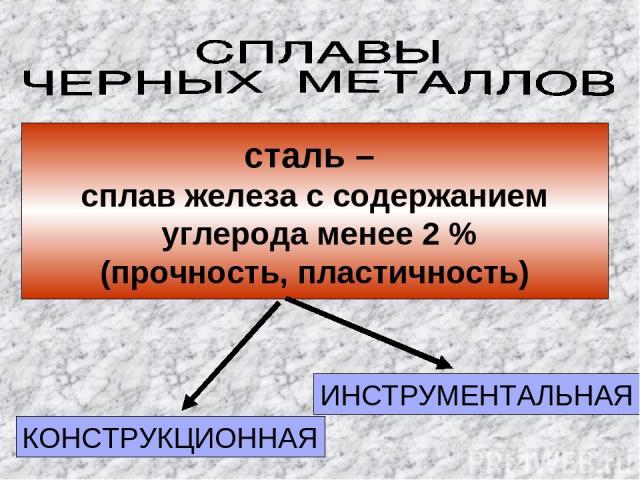 сталь – сплав железа с содержанием углерода менее 2 % (прочность, пластичность) КОНСТРУКЦИОННАЯ ИНСТРУМЕНТАЛЬНАЯ