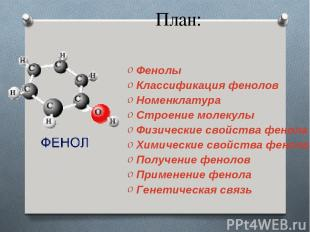 План: Фенолы Классификация фенолов Номенклатура Строение молекулы Физические сво