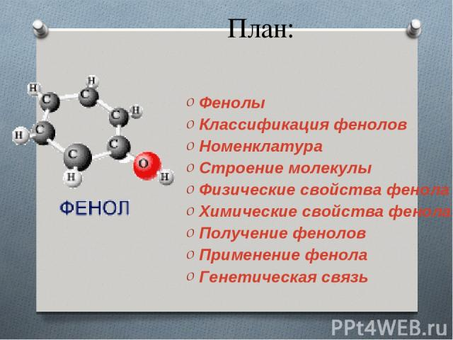План: Фенолы Классификация фенолов Номенклатура Строение молекулы Физические свойства фенола Химические свойства фенола Получение фенолов Применение фенола Генетическая связь