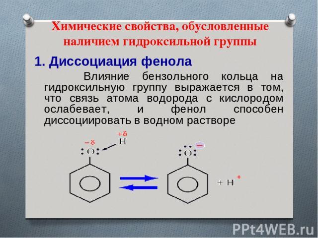 Химические свойства, обусловленные наличием гидроксильной группы 1. Диссоциация фенола Влияние бензольного кольца на гидроксильную группу выражается в том, что связь атома водорода с кислородом ослабевает, и фенол способен диссоциировать в водном растворе