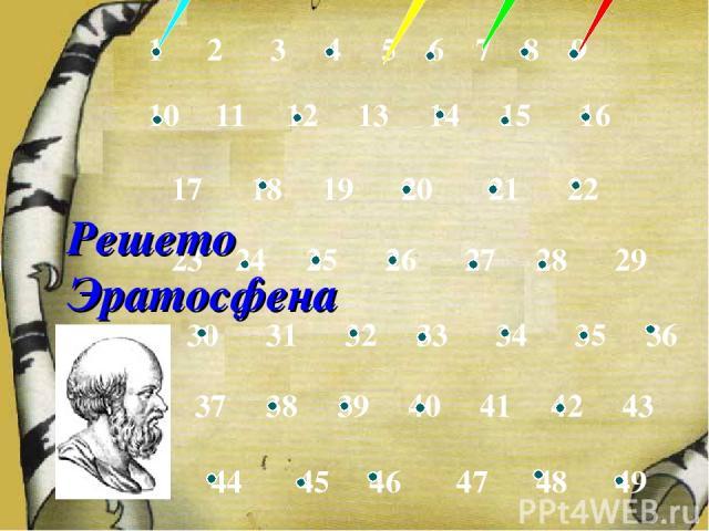 2 3 4 5 6 7 8 9 11 12 13 14 15 16 17 18 19 20 21 22 23 24 25 26 27 28 29 30 31 32 33 34 35 36 37 38 39 40 41 42 43 44 45 46 47 48 49 Решето Эратосфена
