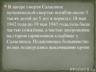 В лагере смерти Саласпилс мученической смертью погибли около 3 тысяч детей до 5