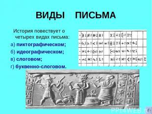 ВИДЫ ПИСЬМА История повествует о четырех видах письма: а) пиктографическом; б) и