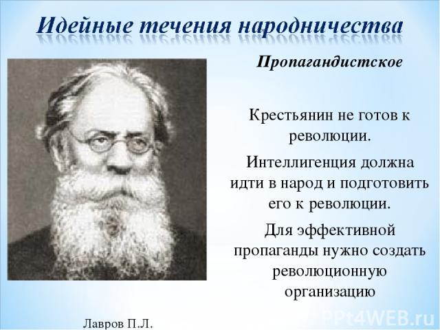 Лавров П.Л. Пропагандистское Крестьянин не готов к революции. Интеллигенция должна идти в народ и подготовить его к революции. Для эффективной пропаганды нужно создать революционную организацию