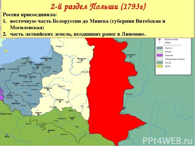2-й раздел Польши (1793г) Россияприсоединила: восточную часть Белоруссии до Минска (губернии Витебская и Могилевская) часть латвийских земель, входивших ранее в Ливонию.