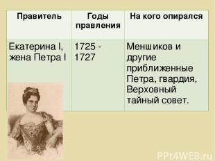 Правитель Годы правления На кого опирался Екатерина l, жена Петра l 1725 - 1727