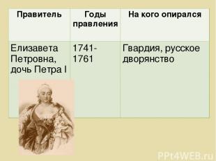 Правитель Годы правления На кого опирался Елизавета Петровна, дочь Петра l 1741-