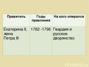 Правитель Годы правления На кого опирался Екатерина ll, жена Петра lll 1762 -179