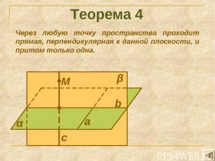 Теорема 4 Через любую точку пространства проходит прямая, перпендикулярная к дан