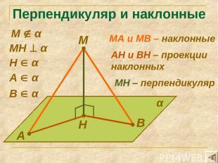 Перпендикуляр и наклонные М А В Н α МН α А α В α МА и МВ – наклонные Н α АН и ВН
