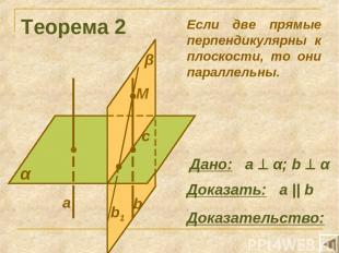 Теорема 2 α Доказать: а || b Доказательство: Если две прямые перпендикулярны к п