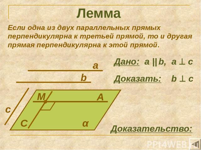 Лемма Если одна из двух параллельных прямых перпендикулярна к третьей прямой, то и другая прямая перпендикулярна к этой прямой. A C a α M b c Дано: а || b, a c Доказать: b c Доказательство: