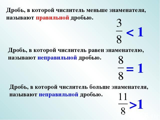 Дробь, в которой числитель равен знаменателю, называют неправильной дробью. Дробь, в которой числитель больше знаменателя, называют неправильной дробью. Дробь, в которой числитель меньше знаменателя, называют правильной дробью. < 1 = 1 >1