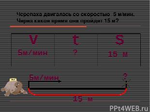 Черепаха двигалась со скоростью 5 м/мин. Через какое время она пройдет 15 м? S V