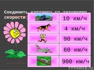 Соединить картинку со значением скорости. 4 км/ч 10 км/ч 900 км/ч 90 км/ч 60 км/