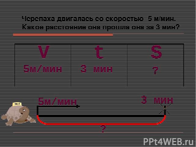 Черепаха двигалась со скоростью 5 м/мин. Какое расстояние она прошла она за 3 мин? S V t 5м/мин 3 мин ? 5м/мин 3 мин ?