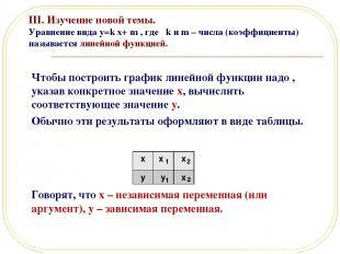 III. Изучение новой темы. Уравнение вида y=k x+ m , где k и m – числа (коэффицие