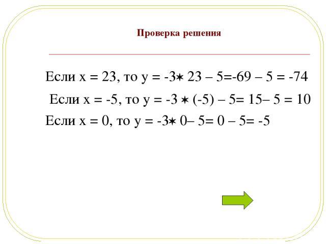Проверка решения Если x = 23, то y = -3 23 – 5=-69 – 5 = -74 Если x = -5, то y = -3 (-5) – 5= 15– 5 = 10 Если x = 0, то y = -3 0– 5= 0 – 5= -5