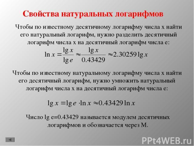 Свойства натуральных логарифмов Чтобы по известному десятичному логарифму числа х найти его натуральный логарифм, нужно разделить десятичный логарифм числа х на десятичный логарифм числа е: Чтобы по известному натуральному логарифму числа х найти ег…