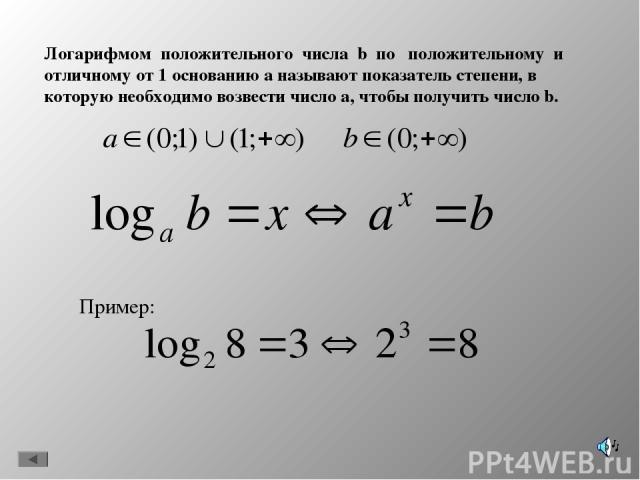 Логарифмом положительного числа b по положительному и отличному от 1 основанию а называют показатель степени, в которую необходимо возвести число а, чтобы получить число b. Пример: