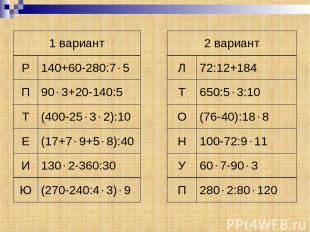 1 вариант 2 вариант Р 140+60-280:7 5 Л 72:12+184 П 90 3+20-140:5 Т 650:5 3:10 Т
