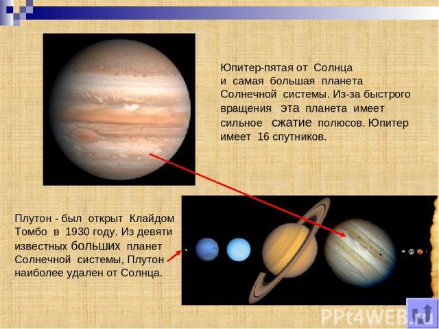 Юпитер-пятая от Солнца и самая большая планета Солнечной системы. Из-за быстрого вращения эта планета имеет сильное сжатие полюсов. Юпитер имеет 16 спутников. Плутон - был открыт Клайдом Томбо в 1930 году. Из девяти известных больших планет Солнечно…