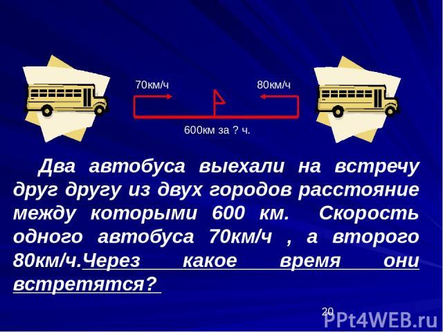 Два автобуса выехали на встречу друг другу из двух городов расстояние между которыми 600 км. Скорость одного автобуса 70км/ч , а второго 80км/ч.Через какое время они встретятся? 70км/ч 80км/ч 600км за ? ч.