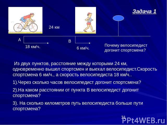 6 км/ч. 18 км/ч. 24 км А В Из двух пунктов, расстояние между которыми 24 км, одновременно вышел спортсмен и выехал велосипедист.Скорость спортсмена 6 км/ч., а скорость велосипедиста 18 км/ч.. 1).Через сколько часов велосипедист догонит спортсмена? 2…