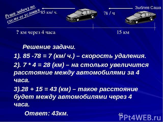 Решение задачи. 1). 85 -78 = 7 (км/ ч.) – скорость удаления. 2). 7 * 4 = 28 (км) – на столько увеличится расстояние между автомобилями за 4 часа. 3).28 + 15 = 43 (км) – такое расстояние будет между автомобилями через 4 часа. Ответ: 43км. 15 км 78 / …