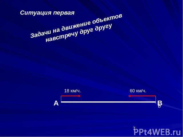 Задачи на движение объектов навстречу друг другу Ситуация первая А В В 18 км/ч. 60 км/ч.