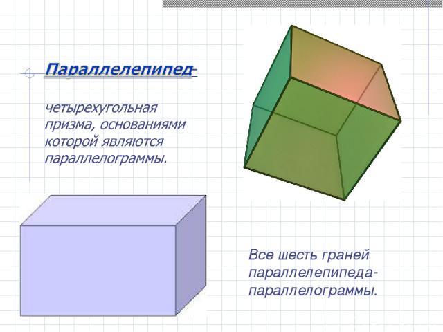 Все шесть граней параллелепипеда- параллелограммы.