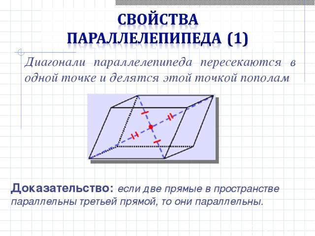Диагонали параллелепипеда пересекаются в одной точке и делятся этой точкой пополам Доказательство: если две прямые в пространстве параллельны третьей прямой, то они параллельны.