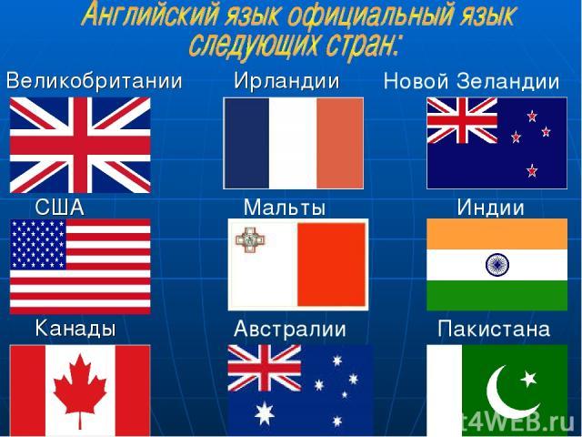 США Великобритании Ирландии Канады Мальты Австралии Новой Зеландии Индии Пакистана
