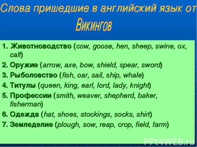 1. Животноводство (сow, goose, hen, sheep, swine, ox, calf) 2. Оружие (arrow, axe, bow, shield, spear, sword) 3. Рыболовство (fish, oar, sail, ship, whale) 4. Титулы (queen, king, earl, lord, lady, knight) 5. Профессии (smith, weaver, shepherd, bake…