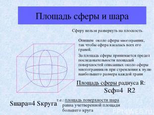 Площадь сферы и шара Сферу нельзя развернуть на плоскость. Опишем около сферы мн