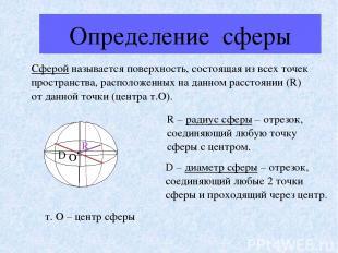 Определение сферы Сферой называется поверхность, состоящая из всех точек простра
