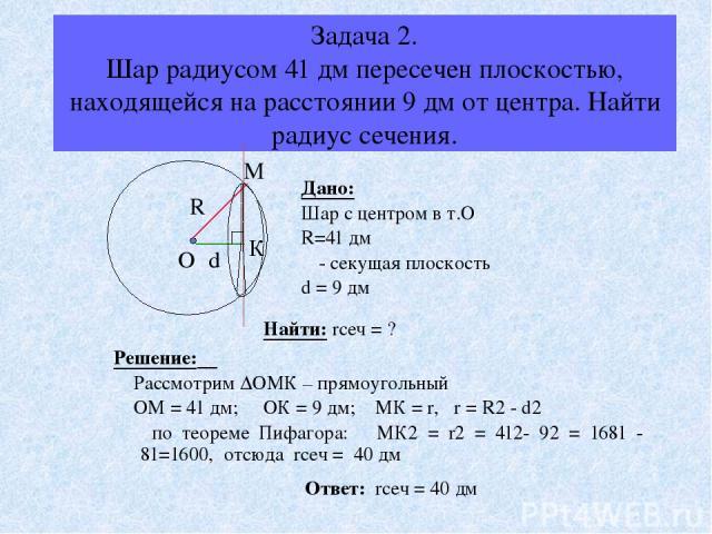 Задача 2. Шар радиусом 41 дм пересечен плоскостью, находящейся на расстоянии 9 дм от центра. Найти радиус сечения. Дано: Шар с центром в т.О R=41 дм α - секущая плоскость d = 9 дм Найти: rсеч = ? Решение: Рассмотрим ∆ОМК – прямоугольный ОМ = 41 дм; …