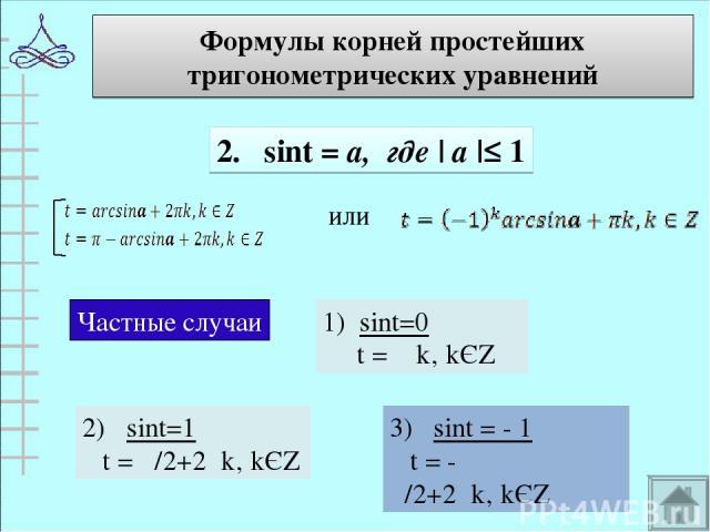 Формулы корней простейших тригонометрических уравнений 2. sint = а, где | а |≤ 1 или Частные случаи 1) sint=0 t = πk' kЄZ 2) sint=1 t = π/2+2πk' kЄZ 3) sint = - 1 t = - π/2+2πk' kЄZ